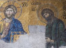 Religiöses Mosaik in Aya Sofya u. im x28; Hagia Sofia& x29; Stockfoto