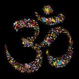 Religiöst hinduiskt symbol Om, vektor för Grunge Arkivbild