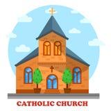 Religia katolik lub kościół chrześcijański fasada ilustracji