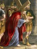 Religia - Przez Dolorosa - stacje krzyż ilustracja wektor