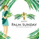 Religia wakacyjna palmowa Niedziela przed Easter, świętowanie wejście Jezus w Jerozolima, szczęśliwi dzieciaki z ilustracja wektor