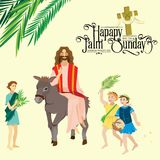 Religia wakacyjna palmowa Niedziela przed Easter, świętowanie wejście Jezus w Jerozolima, szczęśliwi ludzie z ilustracja wektor