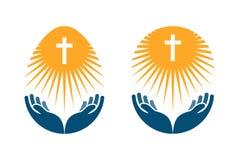 Religia wektoru logo Kościół, ono Modli się lub biblii ikona royalty ilustracja