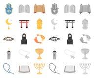Religii i wiary kreskówka, mono ikony w ustalonej kolekcji dla projekta Akcesoria, modlitewna wektorowa symbolu zapasu sieć ilustracja wektor