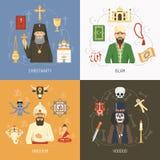 Religii pojęcia 4 ikon Płaski kwadrat ilustracji