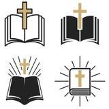 Religijna społeczność Set emblemat z Świętą biblią i krzyżem Projektuje element dla plakata, logo, odznaka, znak ilustracji