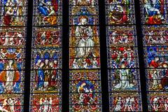 Religijny kolorowy witrażu okno Zdjęcia Royalty Free