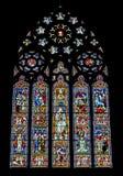 Religijny kolorowy witrażu okno Fotografia Stock