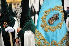 Religijny korowód w Triana, bractwo nadzieja, Święty tydzień w Seville, Andalusia, Hiszpania Fotografia Royalty Free