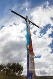 Religijny krzyż na górze góry w Peru Obrazy Royalty Free