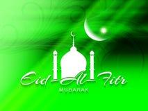 Religijny zielony koloru Eid Al Fitr Mubarak karciany projekt Zdjęcia Royalty Free