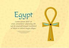 Religijny znak antyczny egipcjanina krzyż - Ankh Symbol życie symbole egiptu royalty ilustracja