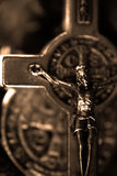 Religion. A Macro-shot of a Cross in a warm Sepia-tone Royalty Free Stock Image