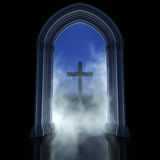 Religion abstract. Gothic temple and cross. Religion abstract symbol a way to God Stock Image