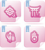 Religion. Is the adherence to codified beliefs and rituals, included icons from left to right, top to bottom Stock Photos