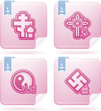 Religion. Is the adherence to codified beliefs and rituals, included icons from left to right, top to bottom Stock Photo