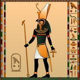 Religion of Ancient Egypt. Horus is the god of heaven, of royalty, the patron of the pharaohs. Ancient Egyptian god Horus in the guise of a man with a falcon royalty free illustration