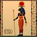 Religion of Ancient Egypt. Sekhmet - Goddess of the scorching sun, war and healing. Ancient Egyptian goddess with the head of a lioness. Vector illustration stock illustration