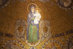 Religion. Ancient mosaic with the Virgin mary and Jesus in the Church of the Dormition, Jerusalem, Israel Stock Photos