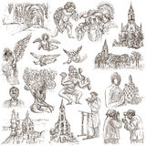 Religion around the World - An hand drawn collection Stock Photography