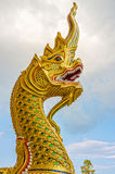 The religion art of Naga head statue. This statue is in Thailand Buddhist temple, Southeast Asia Royalty Free Stock Image