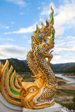 The religion art of Naga statue Stock Images