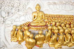 Religion Background. Buddha and monk in historical day stock photos