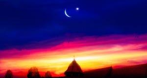 Religion background . city silhouette mosque. New moon. Prayer time. Generous Ramadan. Mubarak background stock photography