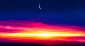 Religion background . city silhouette mosque. New moon. Prayer time. Generous Ramadan. Mubarak background stock photo