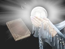 Light in dark sky . Sunset and new moon. Religion background . Ramadan background . Paradise heaven . Muslim praying hands . Book and heaven  . Way to God Royalty Free Stock Photo