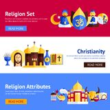Religion Banner Set. Religion horizontal banner set with christianity and other religious attributes isolated vector illustration Royalty Free Stock Image