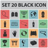 Religion and belief black icons in set collection for design. Accessories, prayer vector symbol stock web illustration. Religion and belief black icons in set Royalty Free Stock Photo