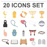 Religion and belief cartoon icons in set collection for design. Accessories, prayer vector symbol stock web illustration. Religion and belief cartoon icons in Royalty Free Stock Images