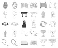 Religion and belief monochrome,outline icons in set collection for design. Accessories, prayer vector symbol stock web stock illustration