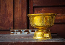 Religion bowl of Buddhist monk at temple. Religion bowl of Buddhist monk at wooden temple in Bangkok, Thailand Stock Images