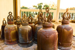 Religion, Buddhism. Closeup Prayer Bells In Buddhist Temple Of T Stock Image