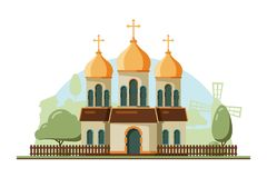 Religion building. Christian traditional church with bell vector flat architectural religion object. Illustration of building chapel, traditional catholic stock illustration