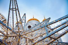 Moscow Christmas Cathedral of Christ the Saviour stock photo