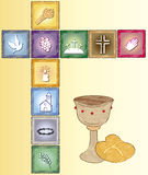 Religion card. Illustration of religion card with icons Stock Photo