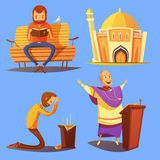 Religion Cartoon Icons Set. With church and praying symbols on blue background vector illustration royalty free illustration