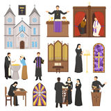 Religion Cathedral Interior Set. Religion flat set with cathedral interior elements priest and nun isolated on white background vector illustration Royalty Free Stock Images