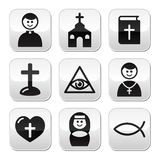 Religion, catholic church  buttons set Royalty Free Stock Photo