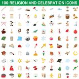 100 religion and celebration icons set. In cartoon style for any design illustration stock illustration