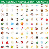 100 religion and celebration icons set. In cartoon style for any design vector illustration Royalty Free Stock Images