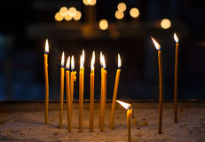 Religion ceremony candle. Close up of religion ceremony candles in church Stock Photo