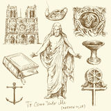 Religion, christianity. Hand drawn set Stock Image