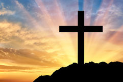 Religion Christianity. Cross silhouette stock image