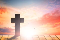 Crucifixion Of Jesus Christ - Cross At Sunset. Religion Christianity. cross silhouette against the backdrop of a beautiful sunset stock image