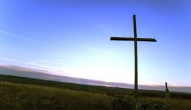 Religion Christianity. Cross silhouette banner Royalty Free Stock Photos