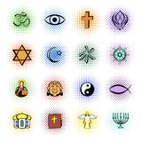 Religion comics icons set Royalty Free Stock Images